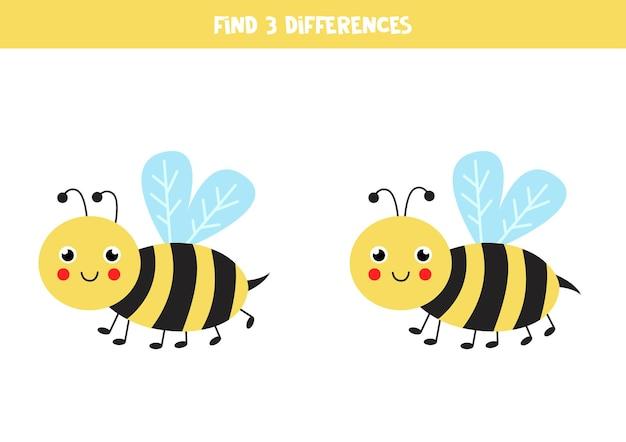 Trouvez trois différences entre deux abeilles mignonnes.
