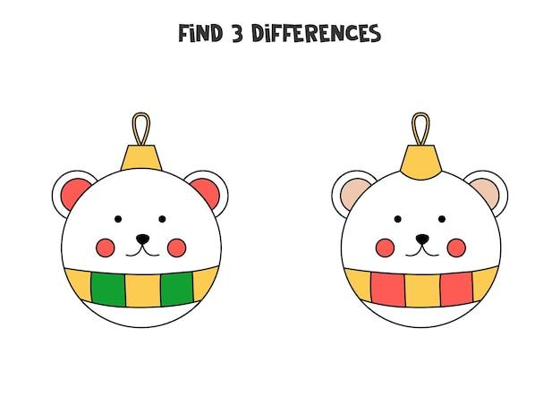 Trouvez trois différences entre deux images de boule de noël.