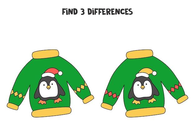 Trouvez trois différences entre deux images de pull de noël.