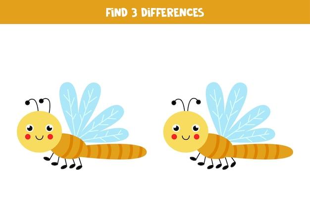 Trouvez trois différences entre deux libellules mignonnes.