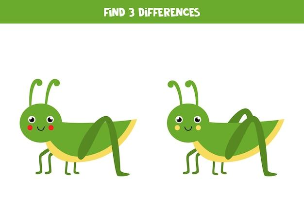 Trouvez trois différences entre deux sauterelles mignonnes.