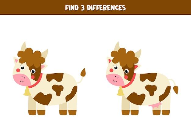 Trouvez trois différences entre deux vaches mignonnes.