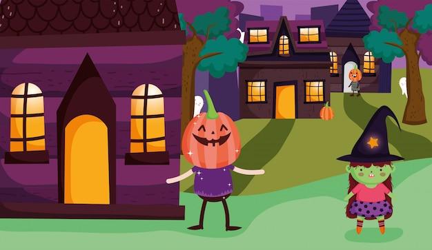 Truc ou friandise costume de sorcière et de potiron