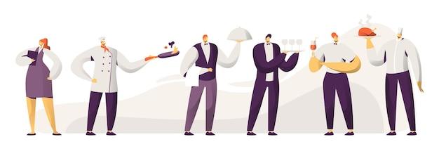 Trucs de restaurant. personnages masculins et féminins en uniforme. administrateur fille avec ordinateur portable, chef en tuque, hommes serveurs tenant plateau avec plat sous couvercle cloche argenté cartoon plat vector illustration