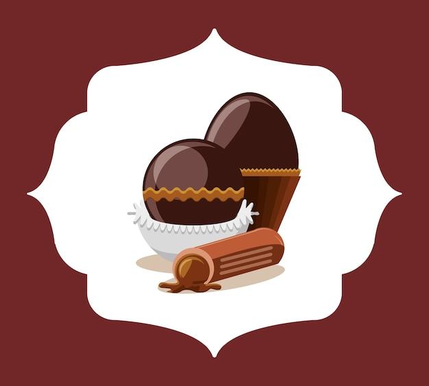 Truffes au chocolat sur cadre décoratif et fond rouge