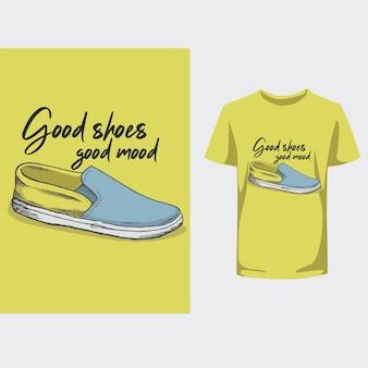 Tshirt bonnes chaussures bonne humeur design typograpy