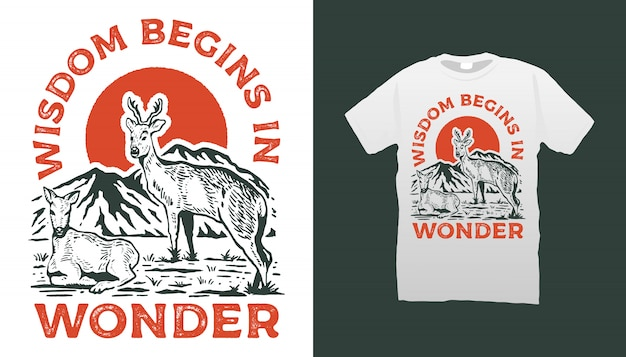 Tshirt Cerf Et Montagne Vecteur Premium