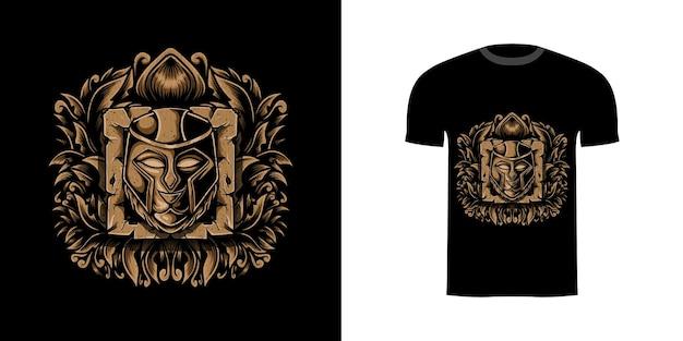 Tshirt design bête guerrier avec ornement de gravure
