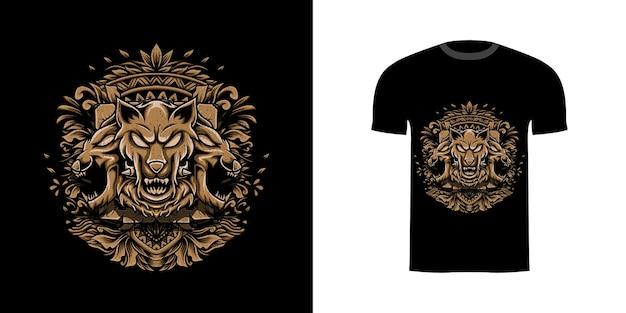 Tshirt design illustration cerberus avec ornement de gravure
