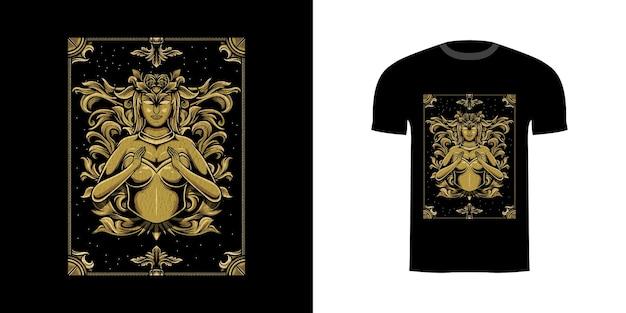 Tshirt design illustration elfe avec ornement de gravure