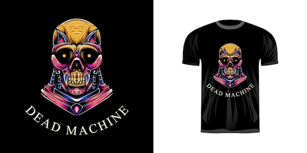 Tshirt design illustration machine de crâne