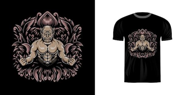Tshirt design illustration ogre avec ornement de gravure