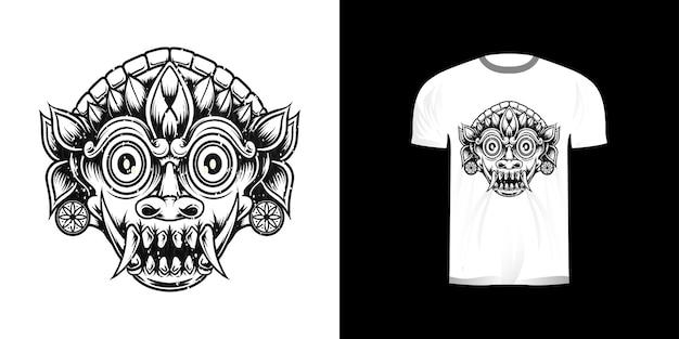 Tshirt design ligne art masque traditionnel