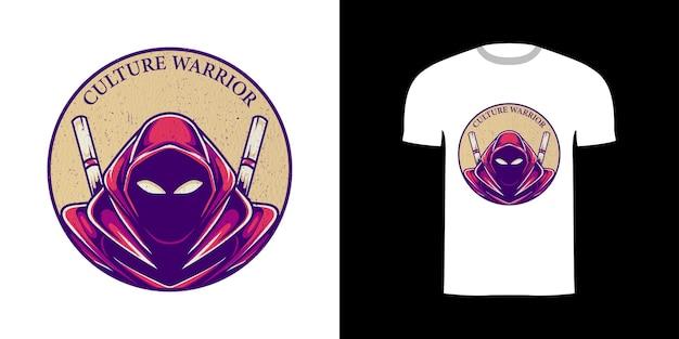 Tshirt design rétro illustration guerrier avec texture grunge