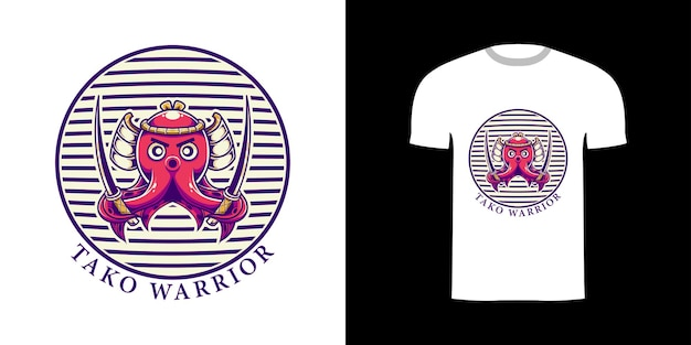 Tshirt design rétro illustration tako guerrier