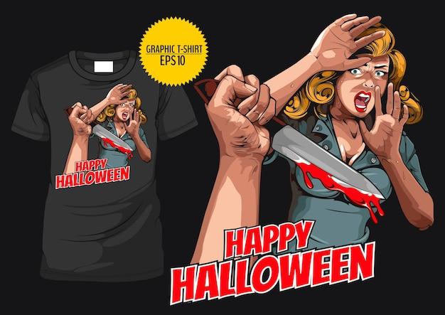 Tshirt graphique halloween horreur comique photo main tenant un couteau et une femme dans une peur très choquée