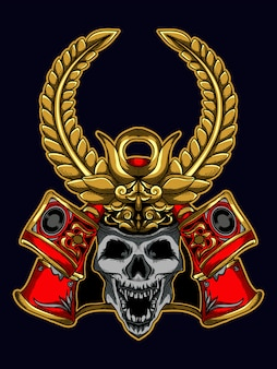Tshirt illustration design crâne de samouraï