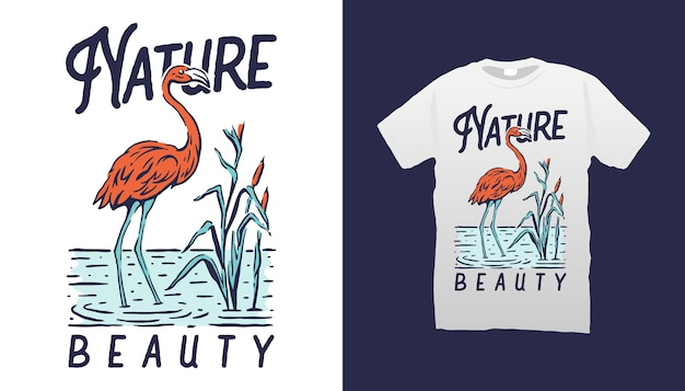 Tshirt illustration flamant rose