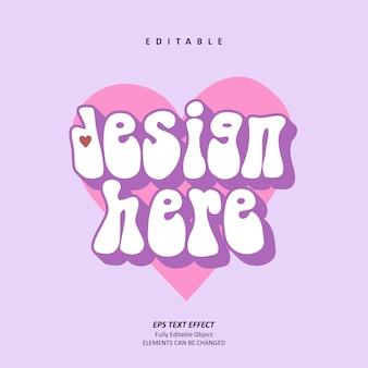 Tshirt love design violet effet de texte modifiable premium premium vecteur