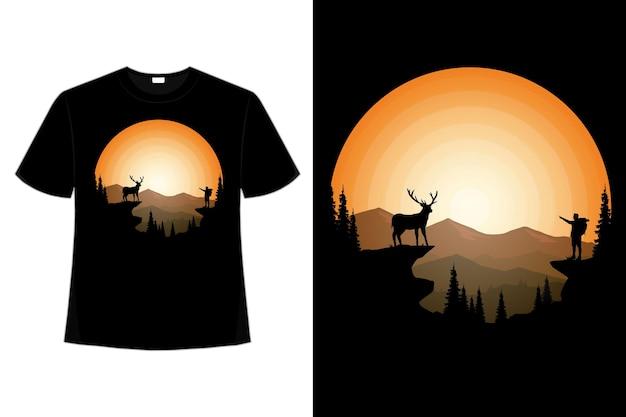 Tshirt rester sauvage deer pin sun mountain vintage retro plat illustration