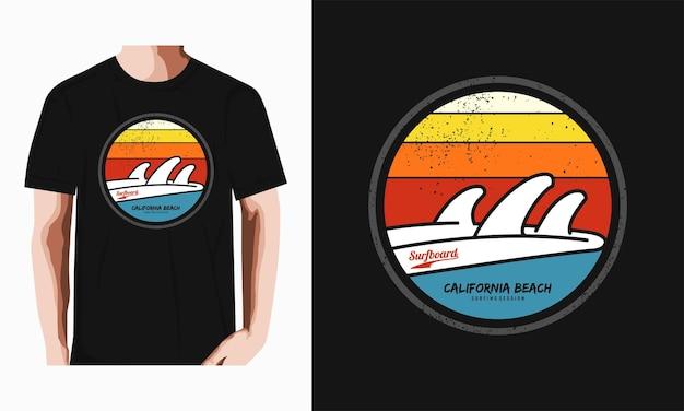 Tshirt de typographie de plage de californie