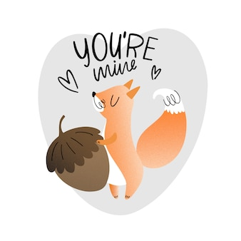 Tu es à moi. écureuil avec écrou, illustration vectorielle avec texture et lettrage. styles plats et scandi.