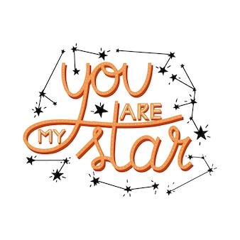 Tu es mon étoile lettrage citation étoiles télescope une fusée et constellations
