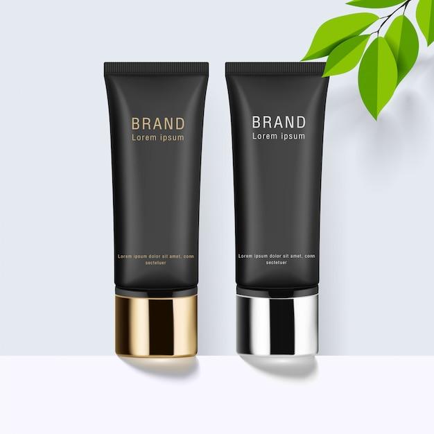 Tube cosmétique noir avec capuchon en or et argent. tube pour crème, gel, soin de la peau, fond de teint, pommade, baume, dentifrice. modèle d'emballage réaliste. vue de côté.