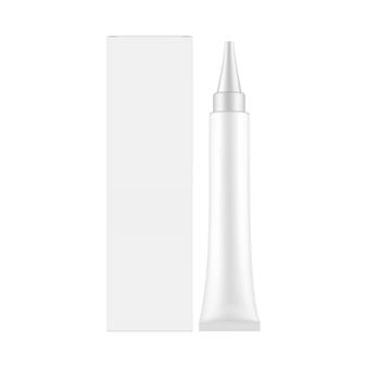 Tube cosmétique en plastique avec boîte isolé sur une surface blanche