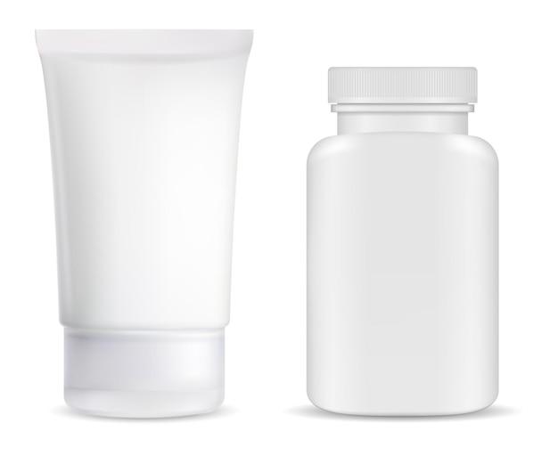Tube de crème, bouteille de pilules de supplément, illustration vierge de pot brillant blanc