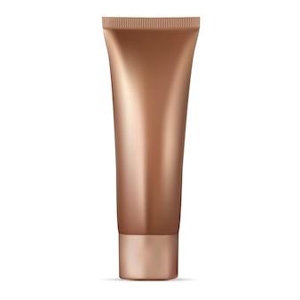 Tube de crème cosmétique dorée. fond de teint tonique, produit hydratant. tube de crème bb, correcteur facial. conception de toner réaliste