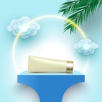 Tube de crème sur la plate-forme d'affichage de produits cosmétiques podium bleu avec des feuilles de palmier et des nuages