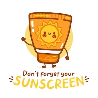 Tube de crème solaire drôle mignon. n'oubliez pas votre texte de protection solaire