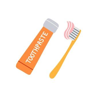 Tube avec dentifrice et brosse à dents sur fond blanc, illustration vectorielle dans un style plat