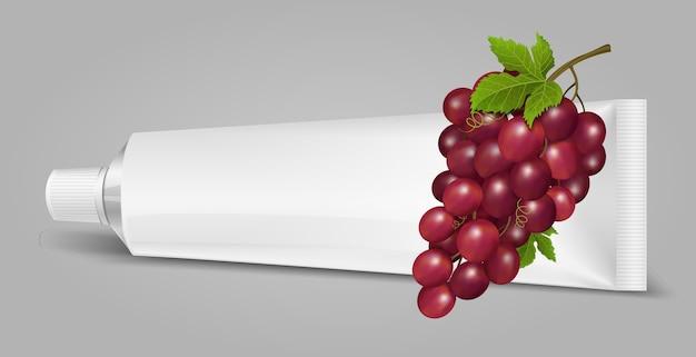 Tube de dentifrice, crème ou gel avec des raisins