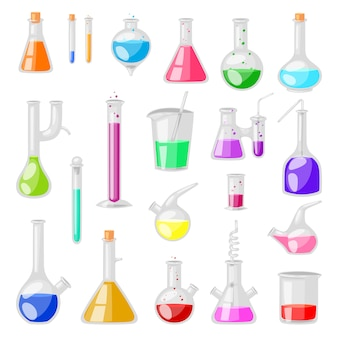Tube à essai flacon tubes à essai en verre chimique rempli de liquide pour la recherche scientifique ou l'expérience illustration chimie ensemble de verrerie sur fond blanc