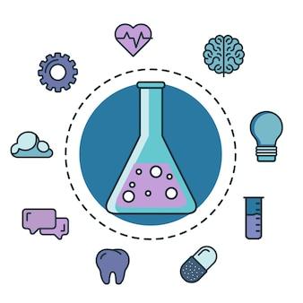 Tube à essai avec des icônes de l'innovation