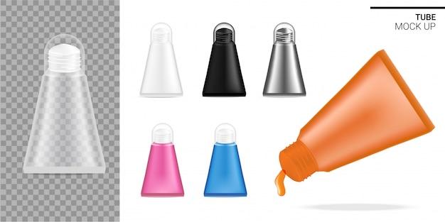 Tube maquette réaliste cosmétique ou sauce transparent transparent, noir et blanc