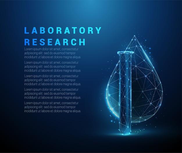 Tube médical low poly et goutte d'eau. conception de style low poly. abstrait géométrique. structure de connexion de lumière filaire.