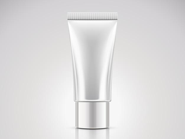 Tube en plastique blanc perle, récipient cosmétique vide en illustration