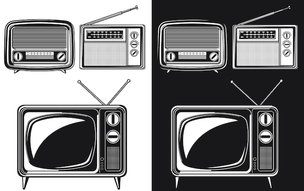 Tube de télévision antique radio rétro silhouette