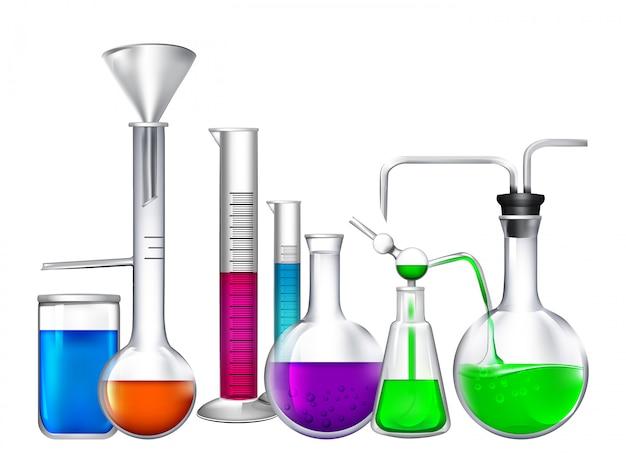 Tube en verre avec différents ingrédients chimiques liquides