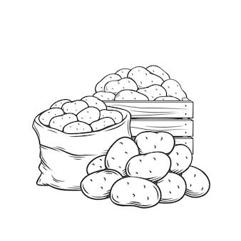 Les tubercules de pomme de terre décrivent l'illustration monochrome dessinée à la main