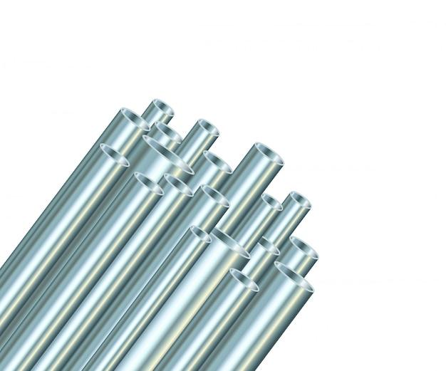 Tubes en acier sur fond blanc. tube métallique industriel.