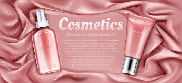 Tubes cosmétiques d'eau de rose et de crème.