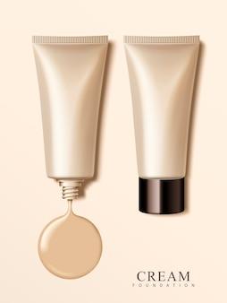 Tubes cosmétiques en plastique vierges avec des éléments de crème, illustration