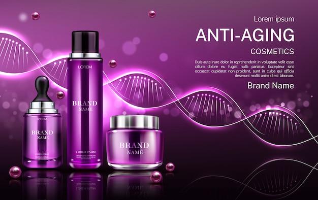 Tubes cosmétiques et pot de crème anti-âge