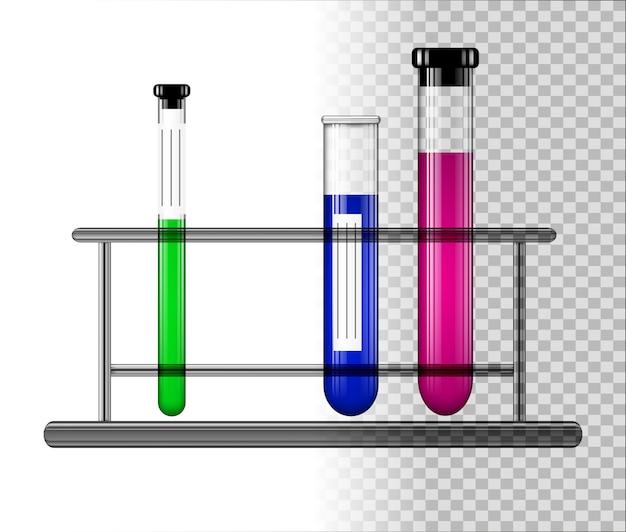 Tubes à essai avec du liquide sur un support en verre.