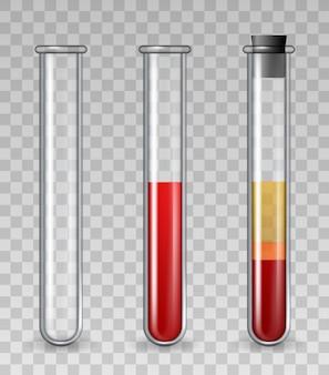 Tubes à essai avec du sang. tube médical en verre réaliste vide, rempli de globules rouges, plasma riche en plaquettes. ensemble de vecteurs de thérapie dermatologique prp. illustration pharmacologie et thérapie chimie scientifique
