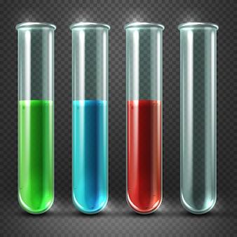 Tubes à essai de vecteur remplis de liquides de différentes couleurs et de sang. récipients en verre pour la recherche i